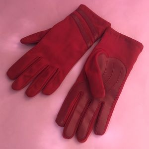 Vintage red nylon gloves with lining